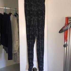 Fun patterned pants.